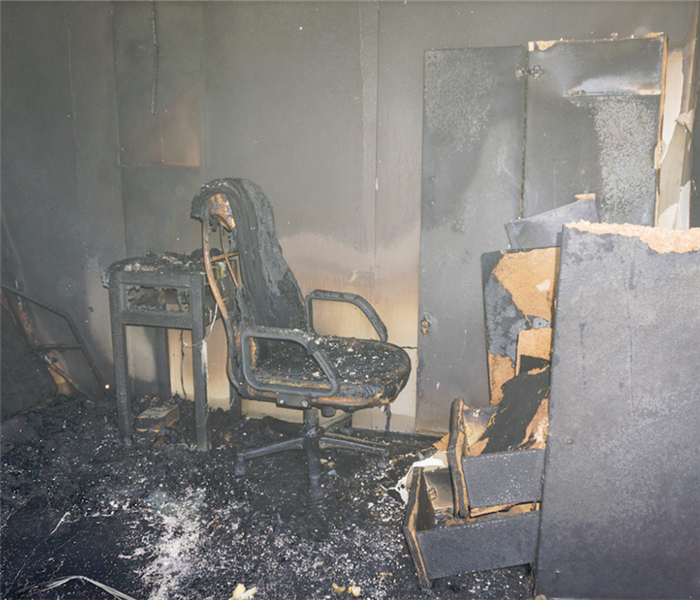 fire damaged home office